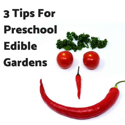 3 Tips For Preschool Edible Gardens black text on white background with smiley face made out of veggies