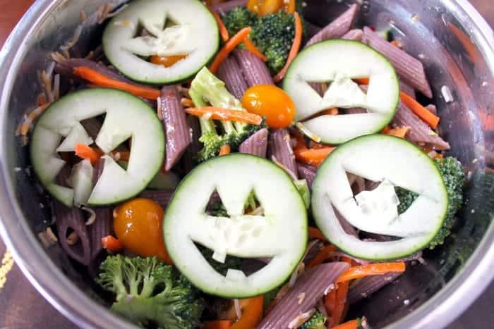 healthy halloween pasta salad