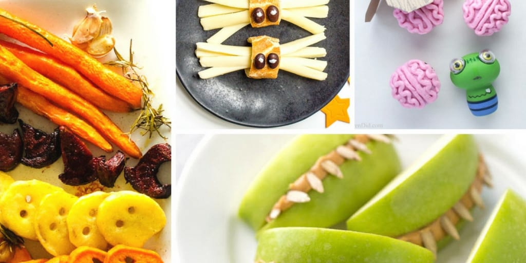 Healthy Halloween party food ideas collage
