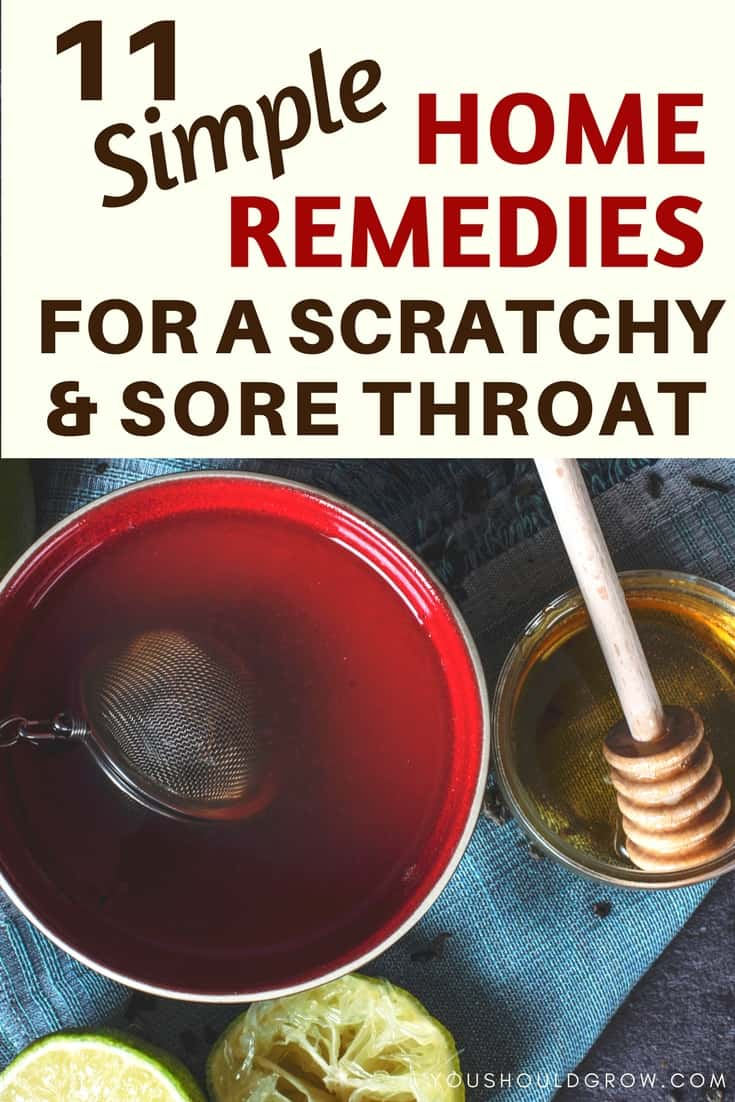 Text overlay: 11 simple home remedies for a scratchy and sore throat