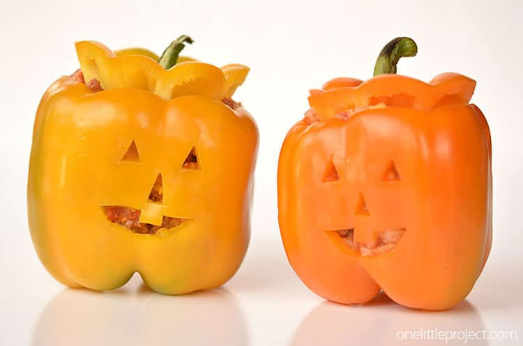 healthy halloween food: stuffed pepper jack o'lanterns