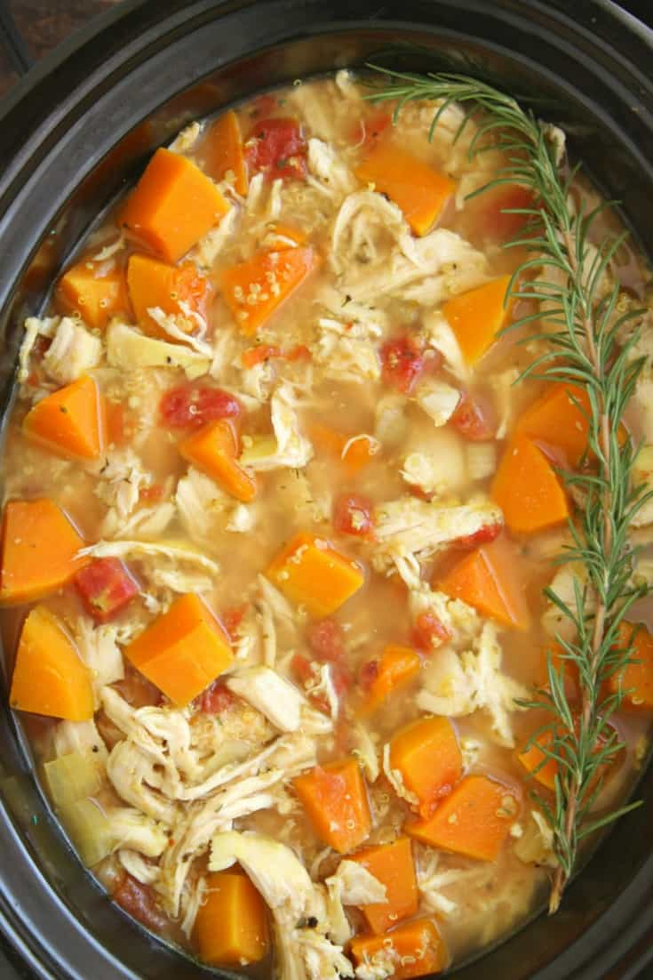 Slow cooker chicken soup with butternut squash and quinoa crockpot