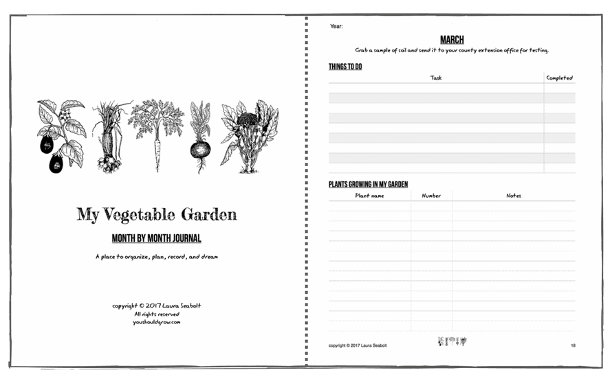 preview my vegetable garden month by month journal