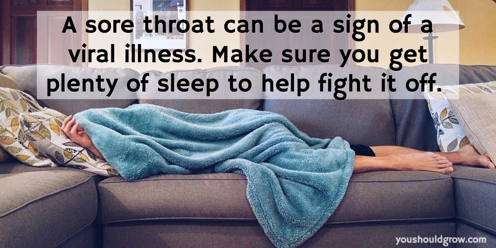 Text over image of person sleeping on a sofa: get sleep to allow your body to heal from the illness that causes a sore throat